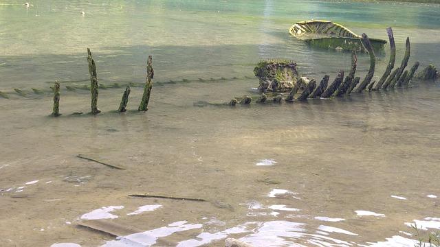 Skeleton, Lake, Green, Barca, Shipwreck, Asturias