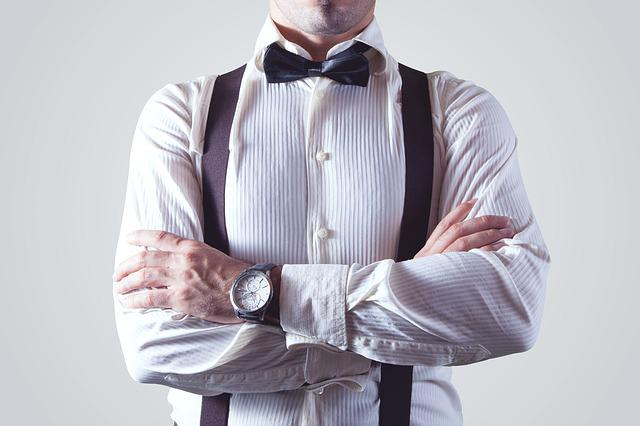 Man, Person, Shirt, Bow Tie, Suspender, Appareal