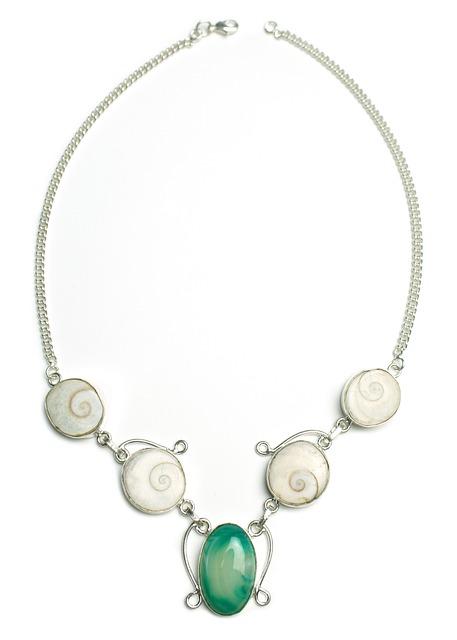 Agate, Shiva Shell, Fluorite, Necklace, Stone, Sterling