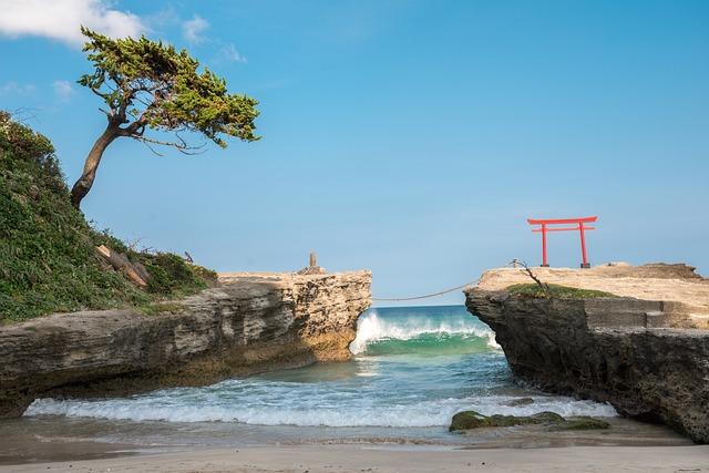 Beach, Torii, Izu, Peninsula, Shizuoka, Water, Gate