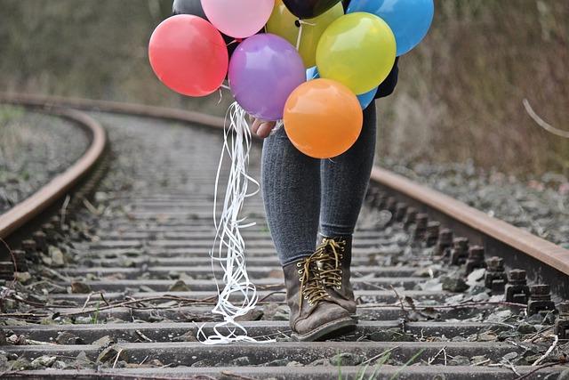 Shoes, Boots, Railway Rails, Nature, Color, Balloons