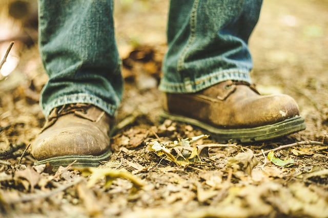 Boots, Dirty, Dry Leaves, Feet, Footwear, Shoes