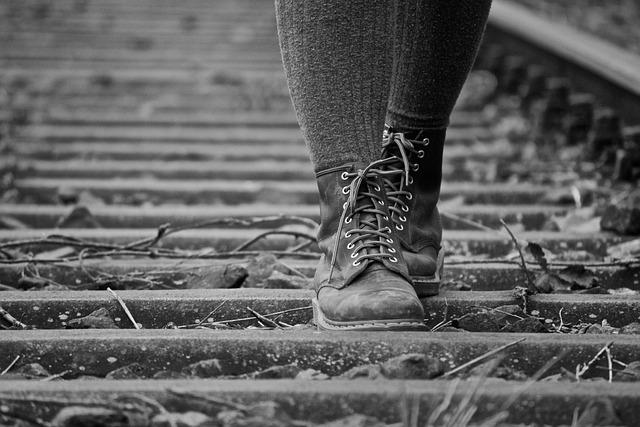 Shoes, Boots, Railway Rails, Nature