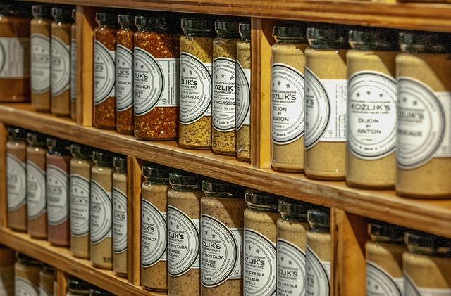 Shelf, Store, Shop, Canadian Mustard, Jars