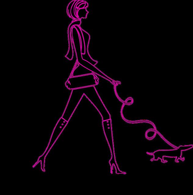 Girl Silhouette, Shopping, Purse, Dog, Fashion