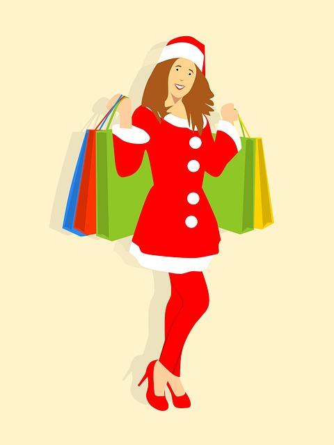 Santa, Shopping, Smiling, Cartoon Character, Idea, Bags