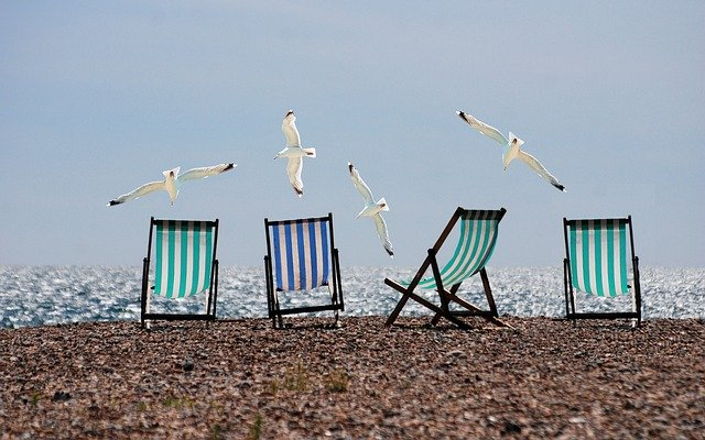Beach, Seagulls, Deckchairs, Fly, Flying Birds, Shore