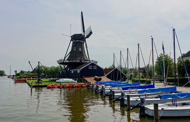 Windmill, Water, Boats, Pier, Shore