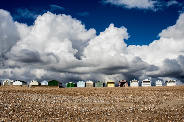 Beach Huts, Uk, Shoreham By Sea, Sky, Coastal, Britain