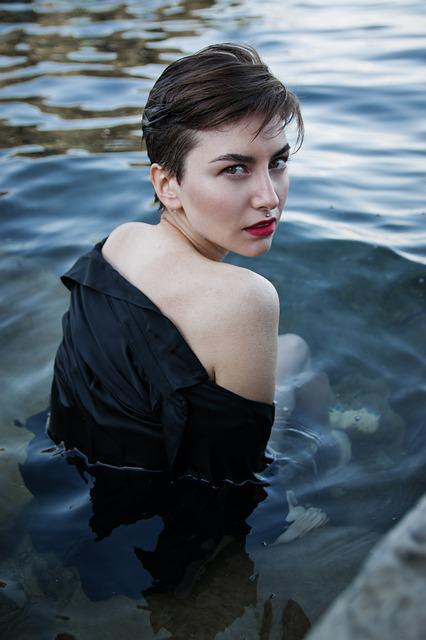 Dvushka, Sea, Water, View, Red Lips, Wet, Short Hair