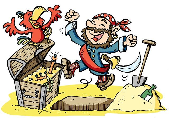 Pirate, Treasure, Parrot, Shovel, Happy, Dancing
