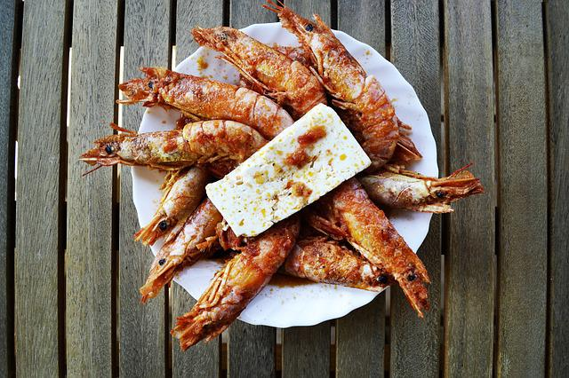 Shrimps, Sea Food, Feta, Feta Cheese, Greek Food