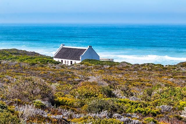 Cottage, Seaside, Bush, Shrubs, Sky, Vacation, Sea