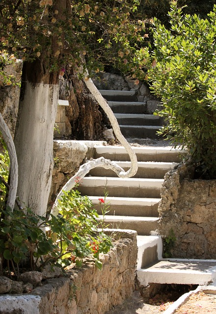 Staircase, Greece, Summer, Tree, Shrubs, Path