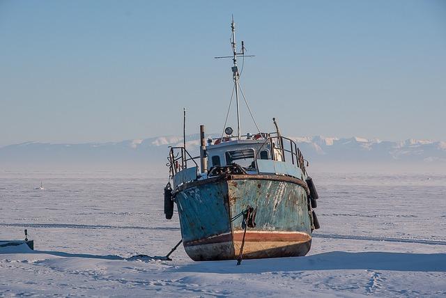 Siberia, Lake Baikal, Ice