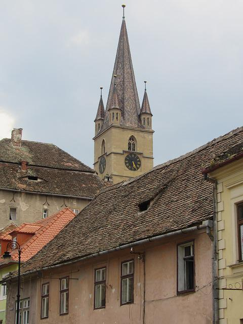 Sibiu, Transylvania, Roofs, Church Tower, Romania