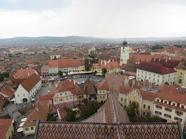 Sibiu, Transylvania, Panorama, Small Market, Tower