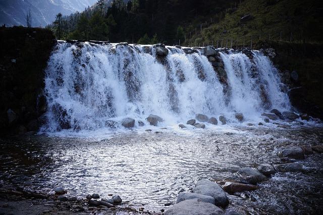 Falls, The Scenery, Bi Peng Gou, China, Sichuan