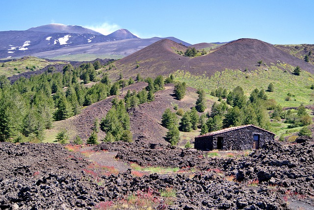Mount Etna, Sicily, Italy, House, Mountains, Hills