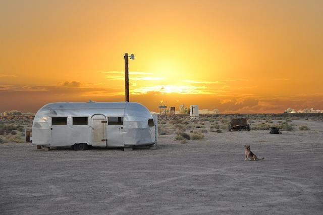 Sunset, Side, Caravan