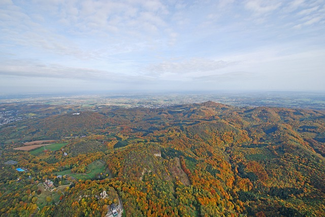 Siebengebirge, Aerial View, Dragon Rock