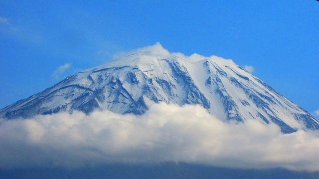 Misti Volcano, Snow, Clouds, Sierra Nevada