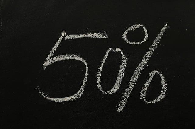 Fifty, Percent, Statistics, Money, Sign On, Symbol