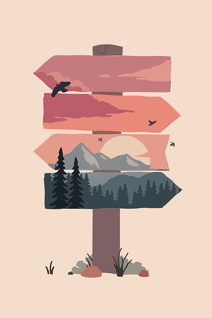 Sign Post, Arrows, Direction, Board, Mountains, Forest