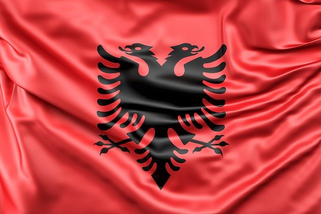 Albania, Flag, Europe, Red, Silk, Sign, Symbol, Ensign