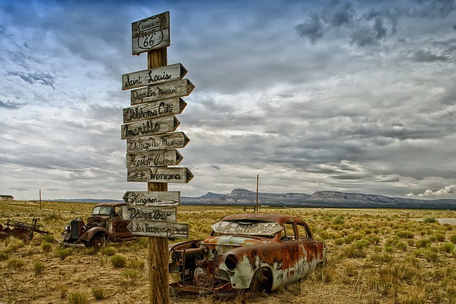 Route 66, Arizona, Landscape, Scenic, Signs, Desert
