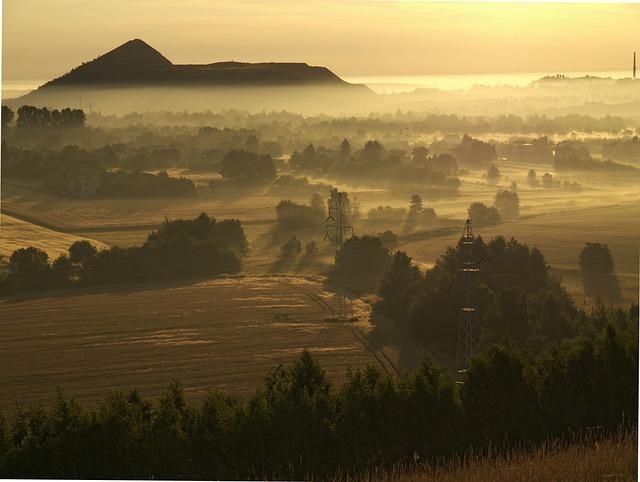 Heap, Silesia, Morning, Poland