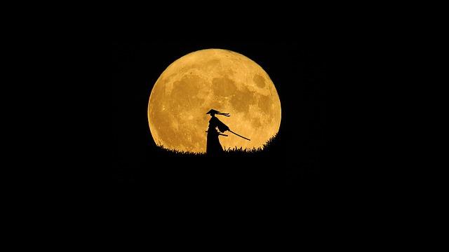 Samurai, Silhouette Art, Lone Warrior, Moon