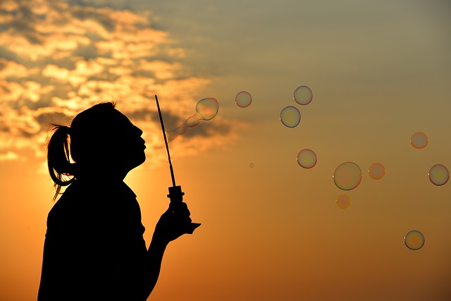 Bubbles, Sunset, Silhouette, Sun, Blowing Bubbles