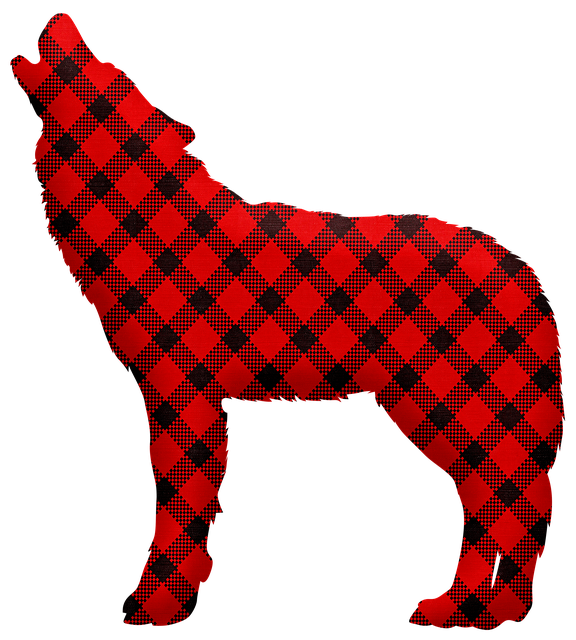 Buffalo Plaid Bear, Bear, Silhouette, Wolf, Christmas