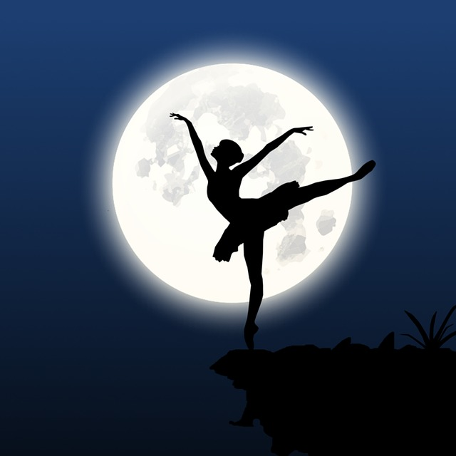 Silhouette, Dancer, Cliff, Moon, Night, Dancing, Female