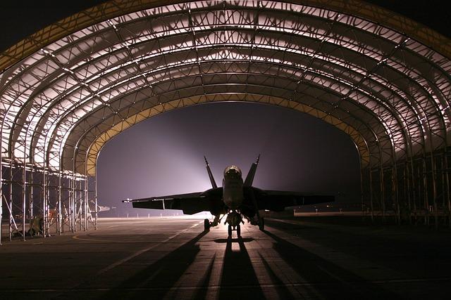 Hangar, Jet, Aircraft, Fighter, Silhouette, Light