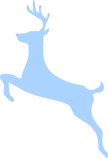 Deer, Jumping, Silhouette, Blue, Isolated, Wildlife
