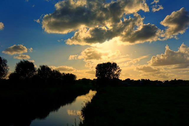 Sunset, Sky, Sun, Silhouette, Clouds, Landscape
