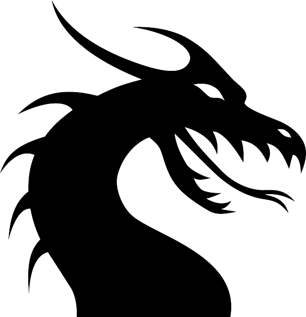 Dragon, Lizard, Monster, Chinese, Silhouette, Tattoo