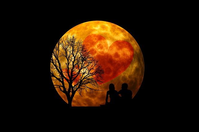 Moon, Human, Group, Silhouette, Man, Woman, Lovers