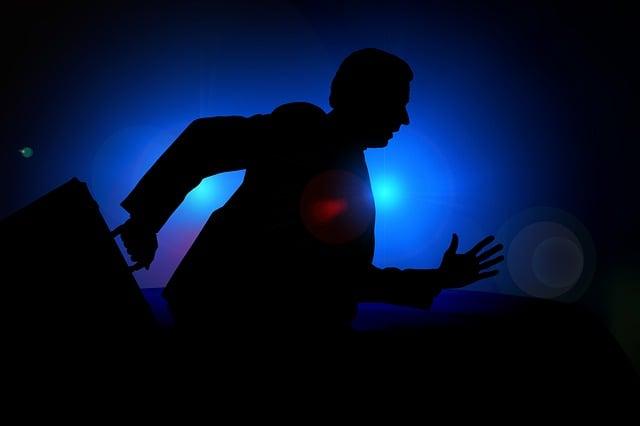 Man, Silhouette, Businessman, Escape, Police