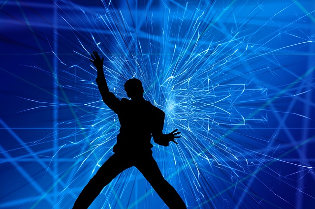 Silhouette, Man, Movement, Jump, Laser Show, Light