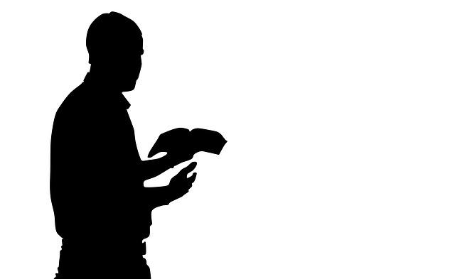 Praying Man, Man Reading The Bible, Silhouette