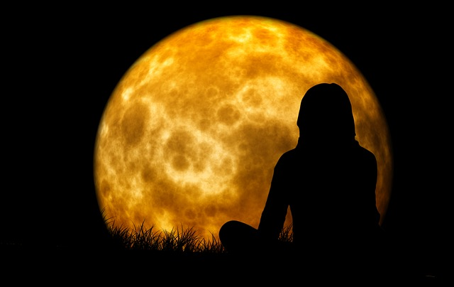 Moon, Woman, Silhouette, Meditation, Viewing, Think