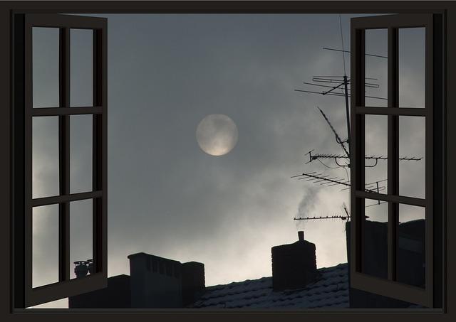 Window, Sky, Light, Dawn, Silhouette, Night, Moon Night