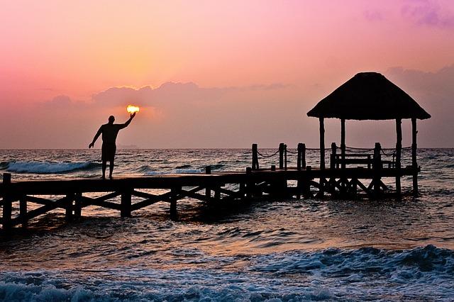Man, Sun, Holding, Ocean, Peer, Waves, Silhouette