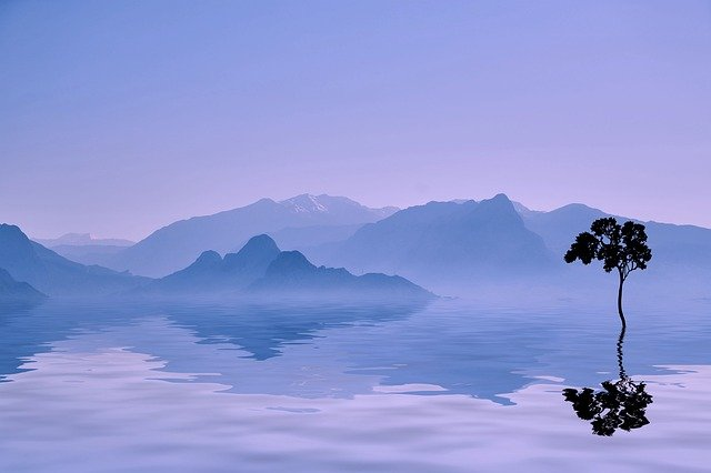 Mountains, Landscape, Nature, Silhouette, Tree, Sea