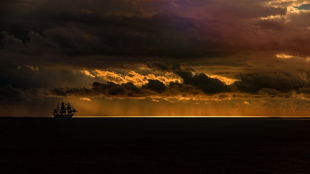 Ship, Sea, Sunset, Silhouette, Clouds, Sunbeam