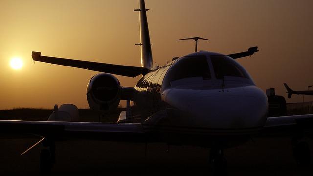 Airplanes, Cessna Citation Ii, Sunset, Silhouette