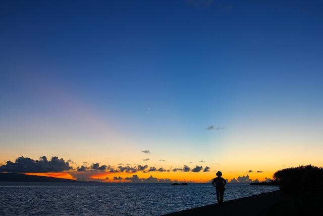 Sunset, Evening, Nightfall, People, Silhouette, Sea